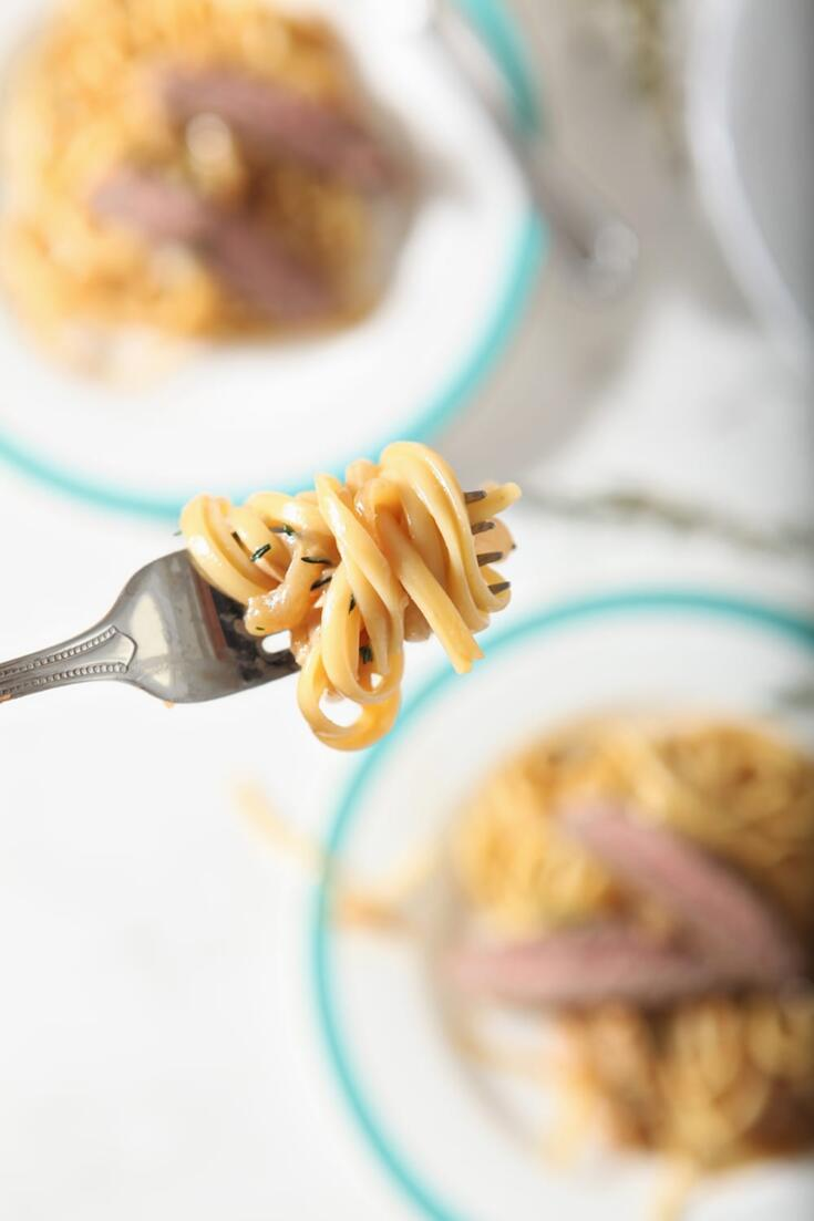 French Onion Steak Pasta