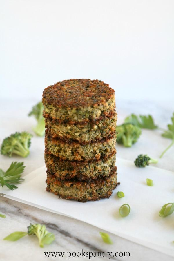 stacked broccoli cakes
