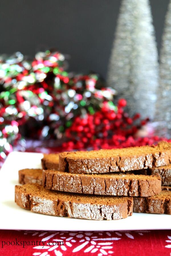 slices of gingerbread biscotti on white plate