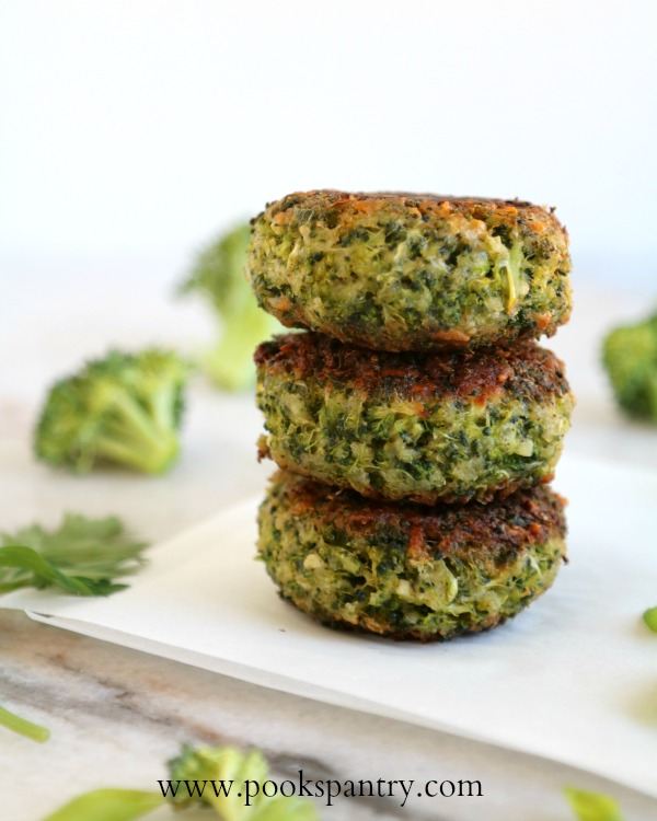 broccoli cakes fried and stacked