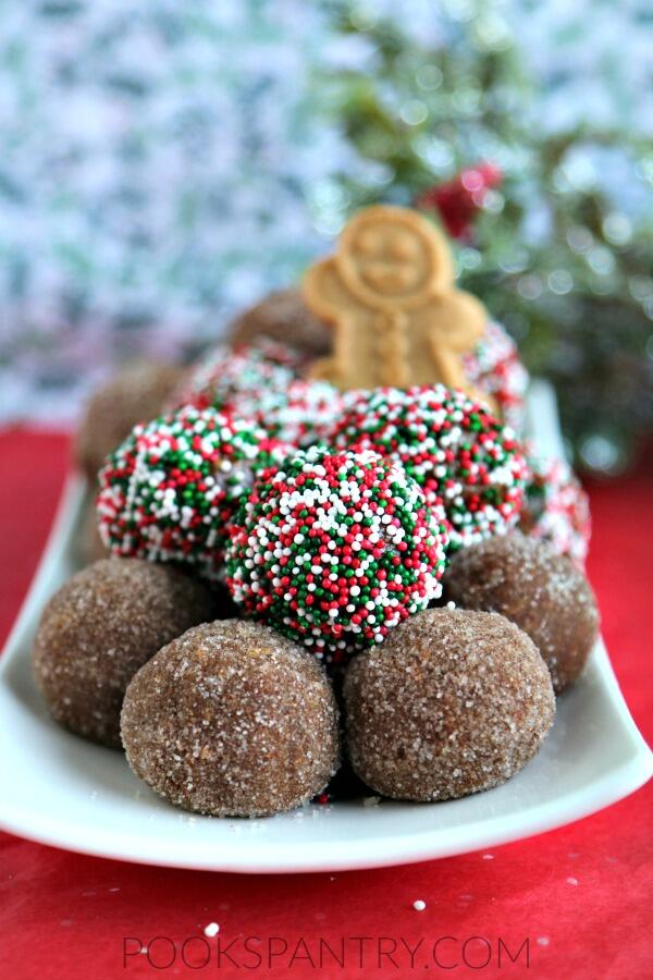 gingerbread balls on white plate