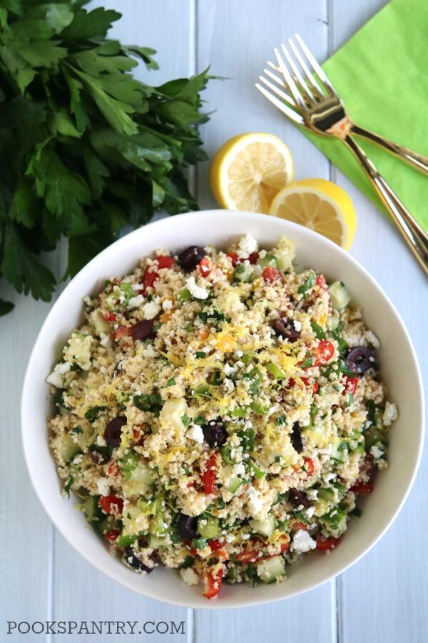 Mediterranean couscous salad with feta