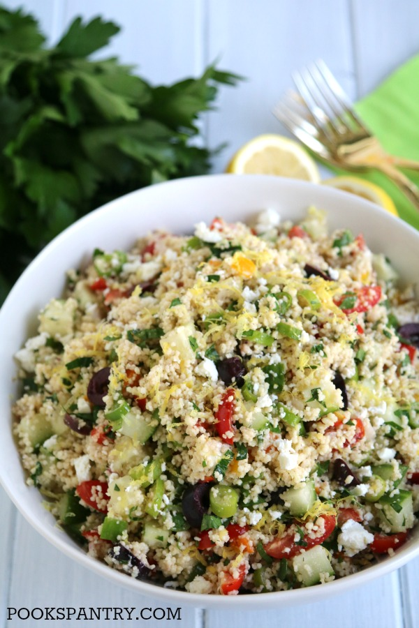 Mediterranean couscous salad with olives and lemon