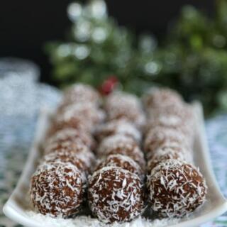 gluten free rum balls on white platter