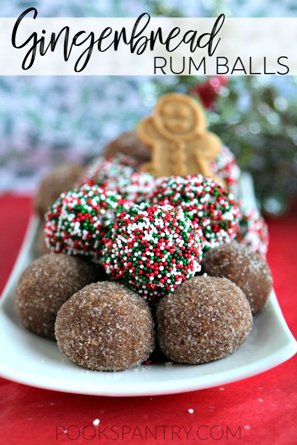 Gingerbread rum balls are a fun holiday twist on a traditional rum ball recipe. Full of warm spices, these are perfect for holiday cookie platters.