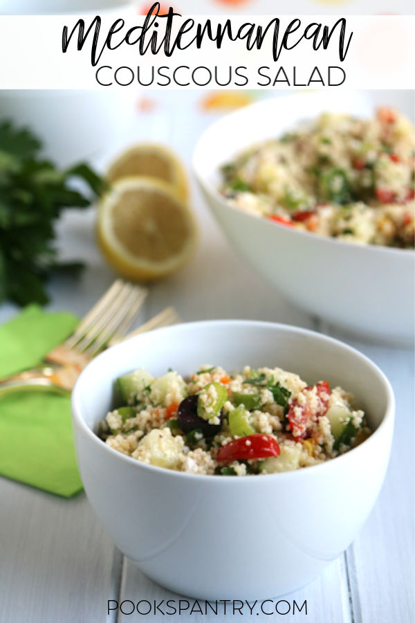 Light and fresh Mediterranean couscous is quick, easy and delicious. Loaded with fresh vegetables like tomatoes, bell peppers and cucumbers, it is a healthy side dish perfect for weeknight cooking. #mediterraneancouscous #mediterraneanrecipes #couscoussalad