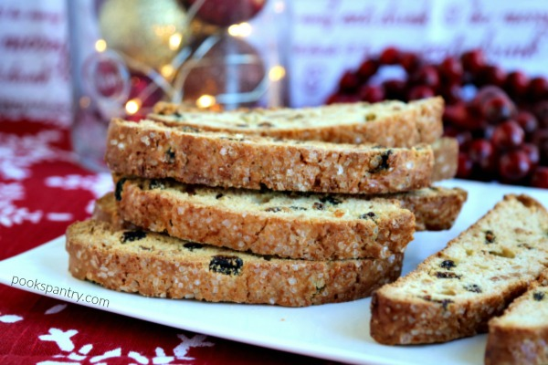sparkly biscotti on white platter