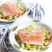 Oven Poached Salmon Caesar Salads