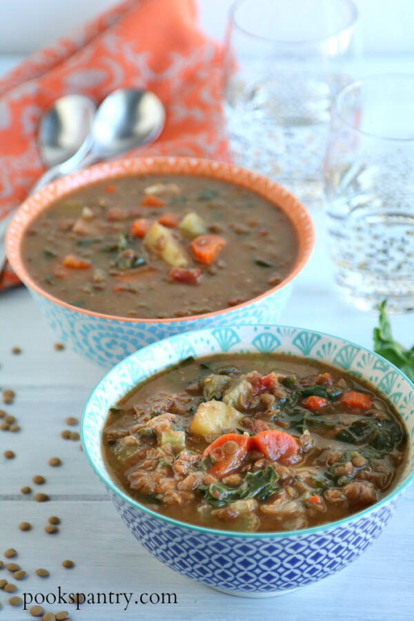 bowls of slow cooker lentil soup with ham and kale