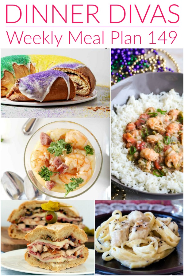 collage of images for dinner divas meal plan 149