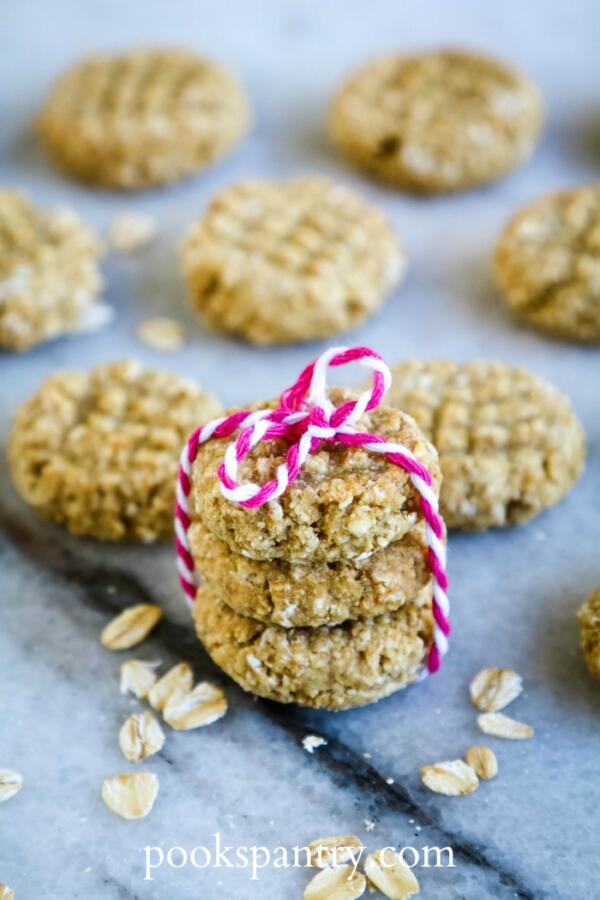 dog treats with rolled oats tied with pink and white twine