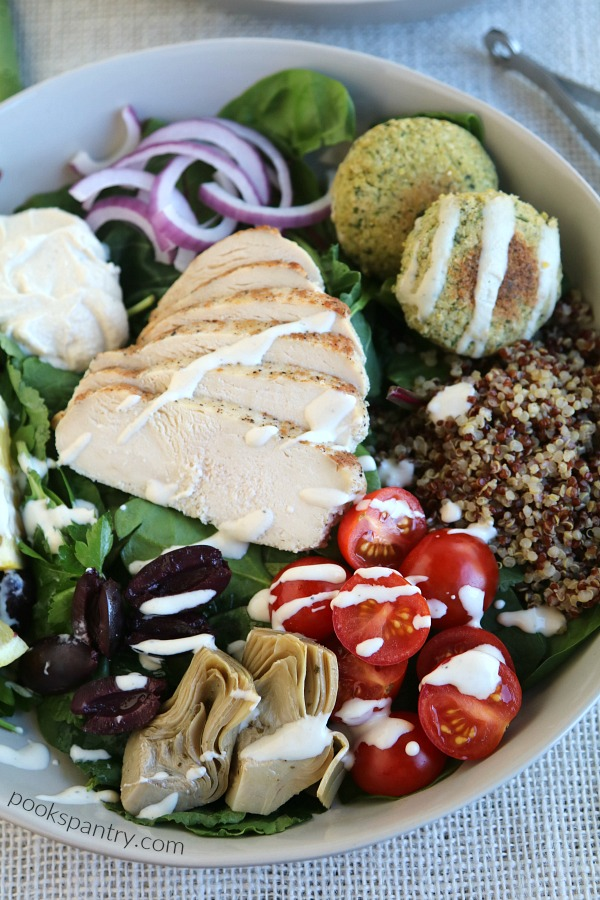 mediterranean bowl with dressing