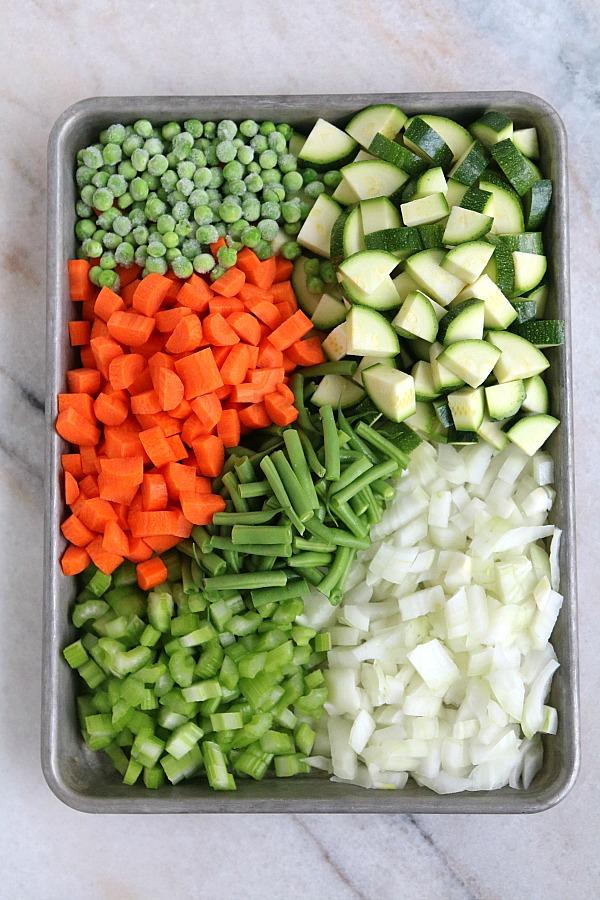 minestrone soup ingredients on sheet pan