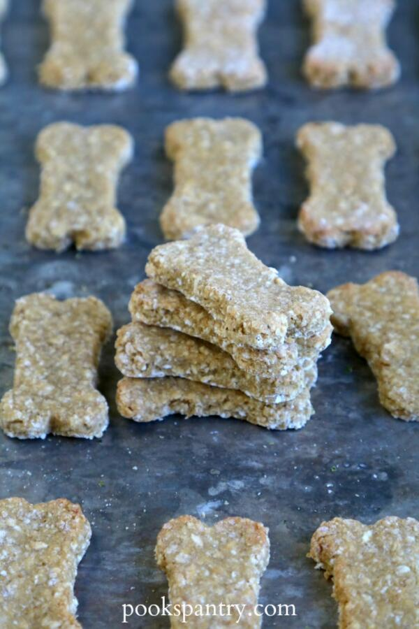 homemade dog treats with rolled oats on sheet pan