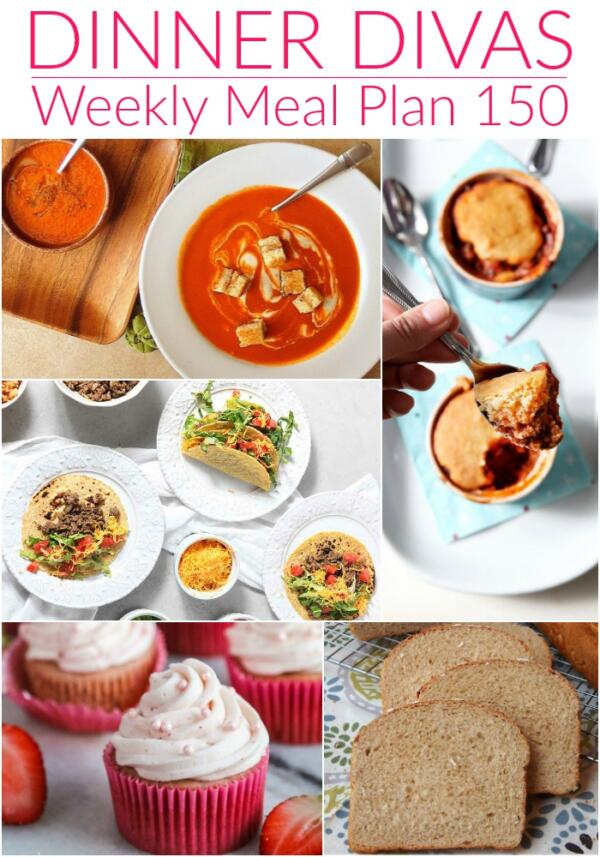 collage of images for dinner divas meal plan 150