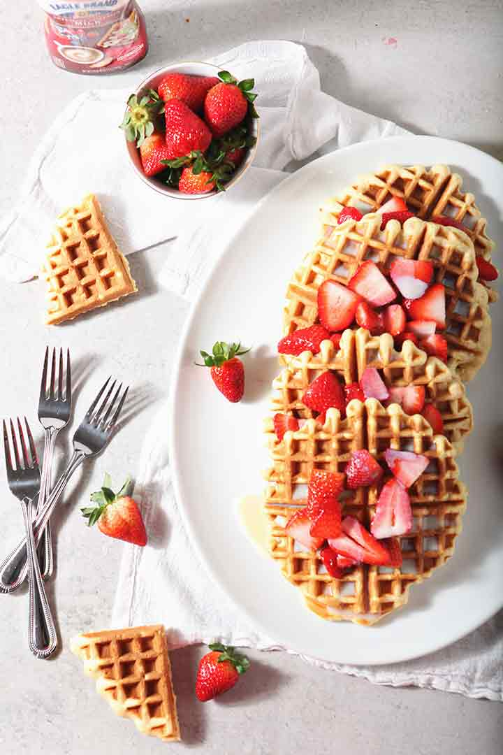 Homemade Waffles with Strawberries and Cream