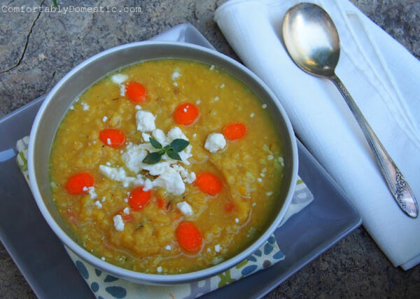 Lemony Garlic Lentil Soup with Feta