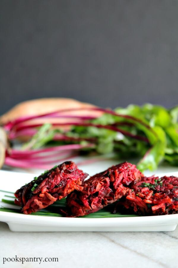 sweep potato and beet fritters