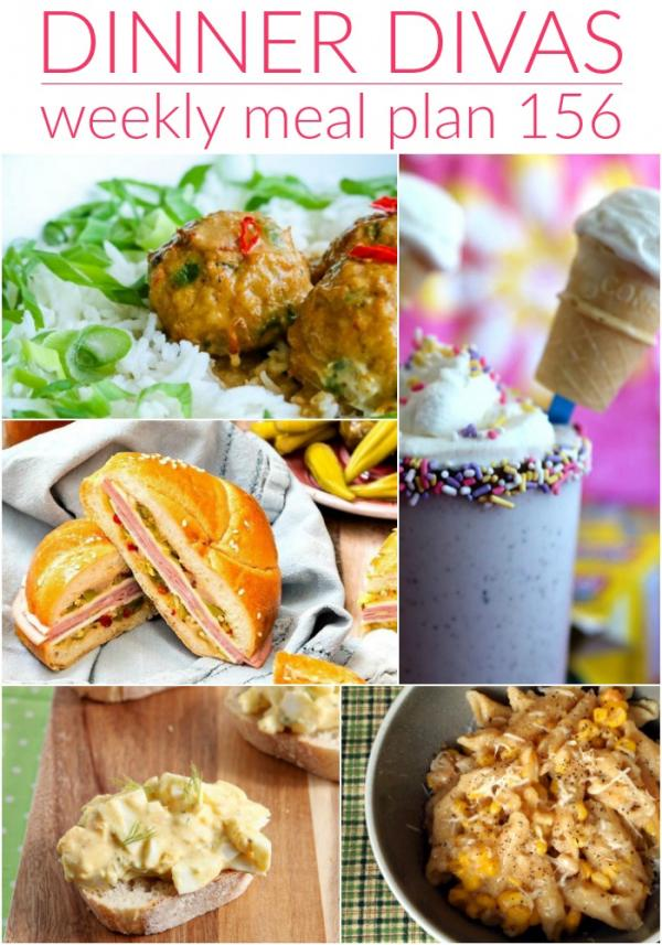 collage of images for dinner divas weekly meal plan 156