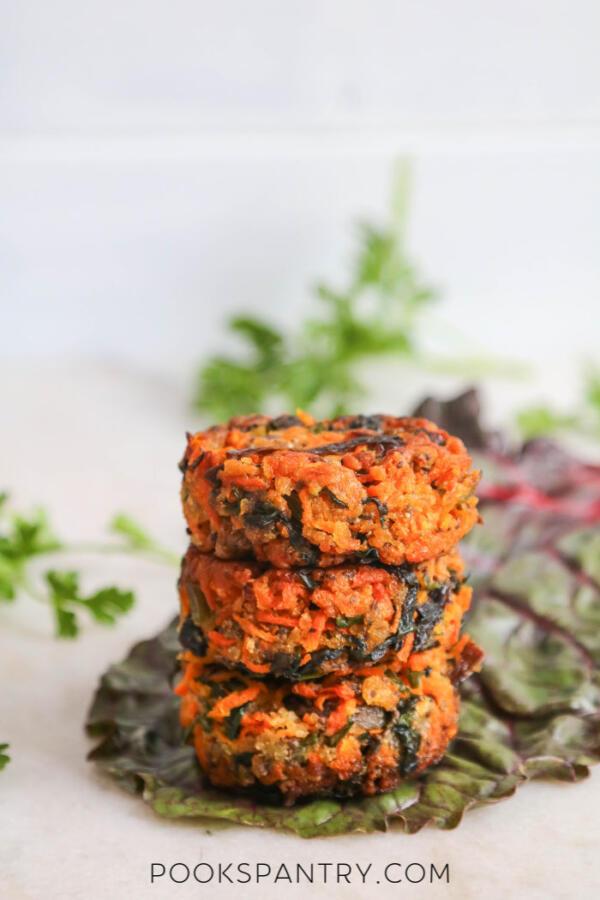 vegan veggie cakes on red chard leaf