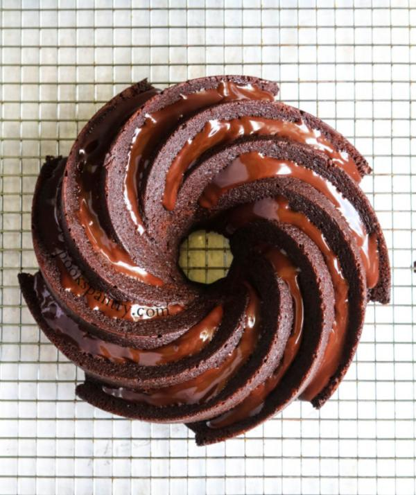 chocolate bundt cake recipe on cooling rack