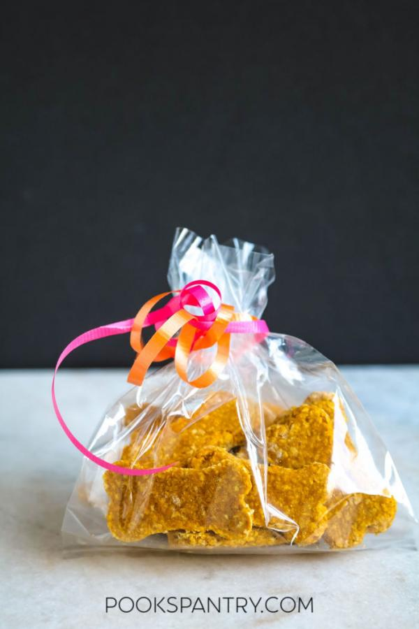 homemade peanut butter dog treats in gift bag