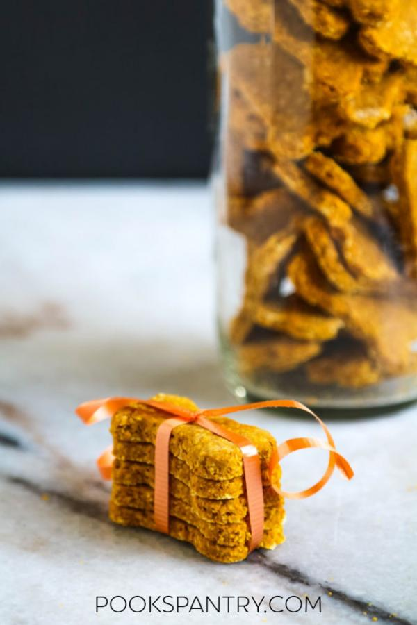 gift-wrapped pumpkin peanut butter dog treats