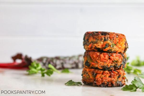 stacked vegan vegetable cakes