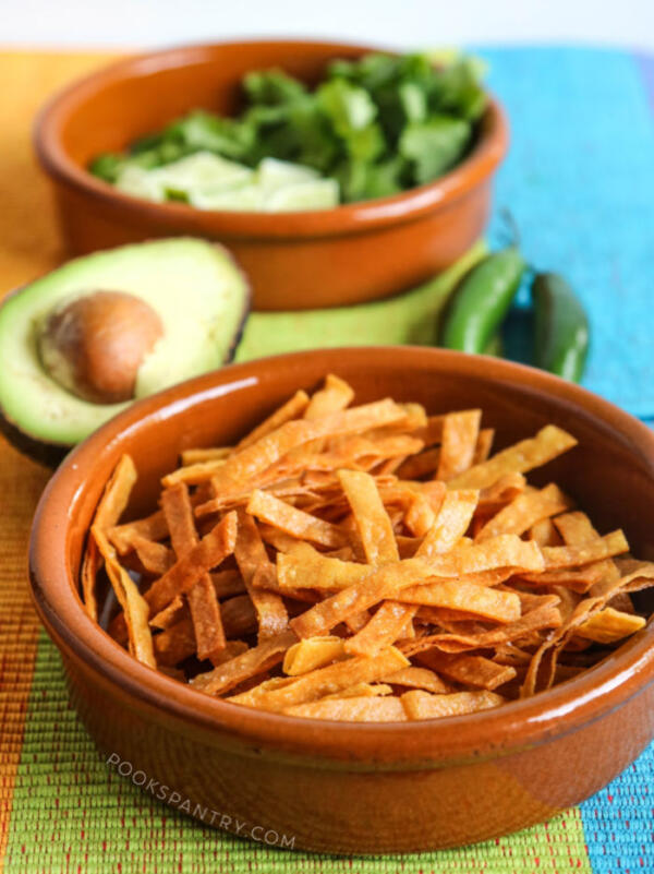 crispy tortilla strips for tortilla soup recipe
