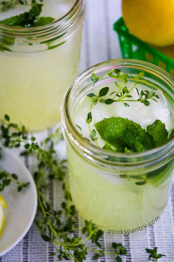lemon thyme mint lemonade in mason jars