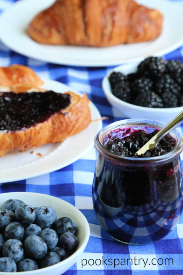 black and blueberry freezer jam
