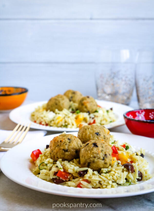 chicken meatballs with orzo