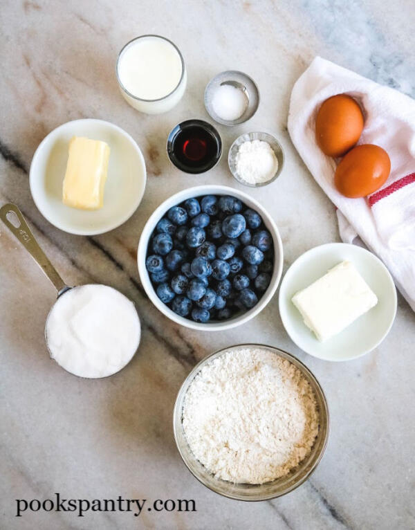 Ingredients for blueberry loaf cake