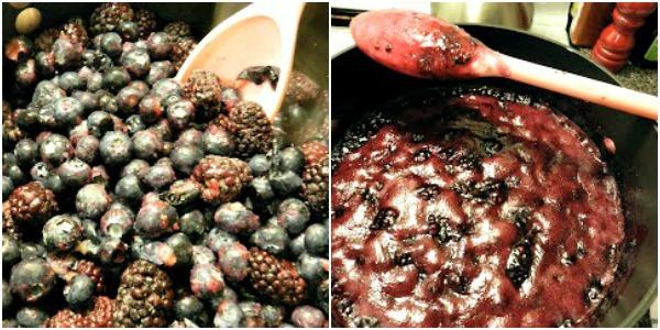 making black and blueberry freezer jam