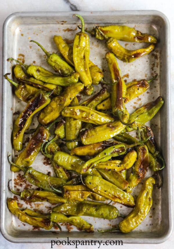 roasted shishito peppers on sheet pan