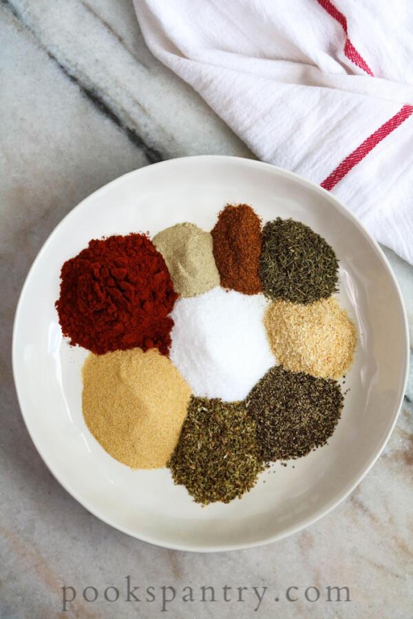 Cajun seasoning blend ingredients in bowl