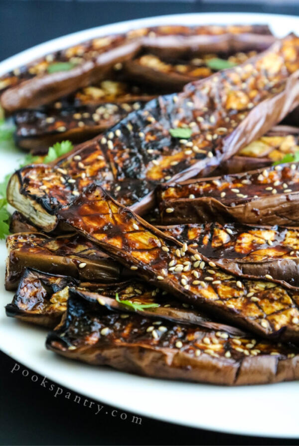 Ginger miso eggplant on platter with sesame seeds