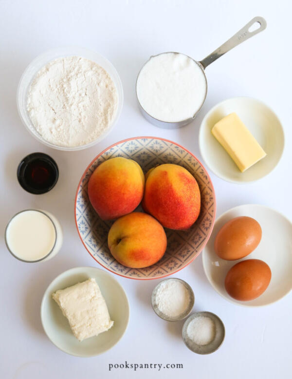 ingredients for peach loaf cake