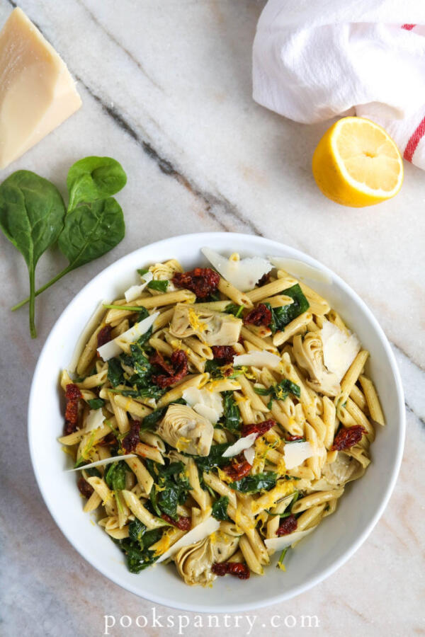 lemon artichoke pasta salad with spinach