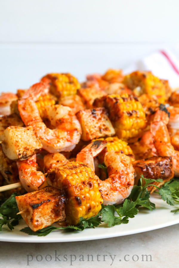 grilled shrimp and potato skewers