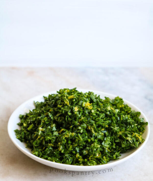 chopped gremolata on plate