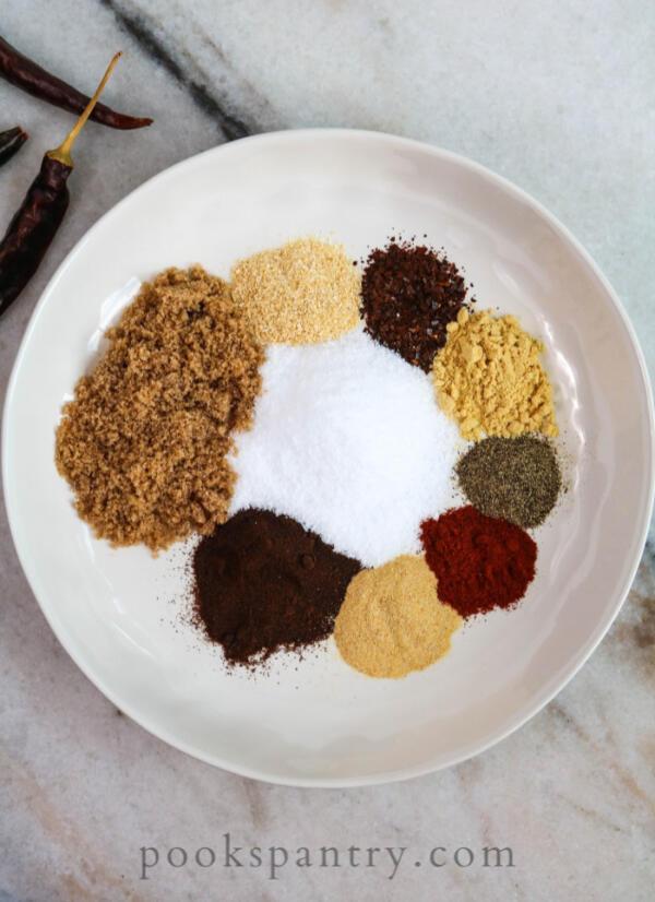 ingredients for steak rub in bowl