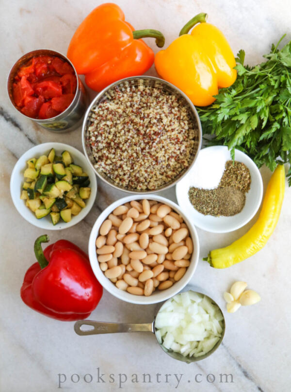ingredients for vegetarian stuffed peppers