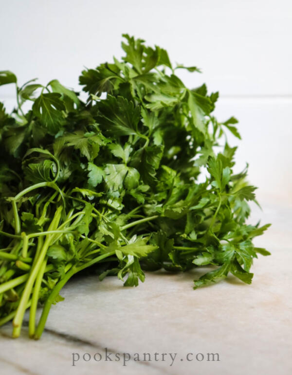 parsley on cutting board