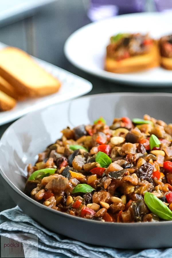 roasted eggplant caponata in gray bowl