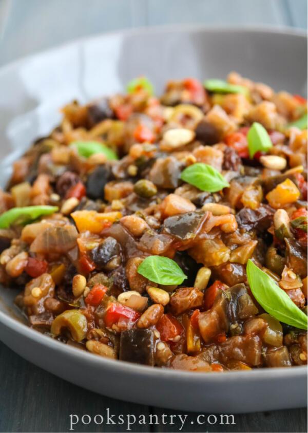 roasted eggplant caponata with fresh basil