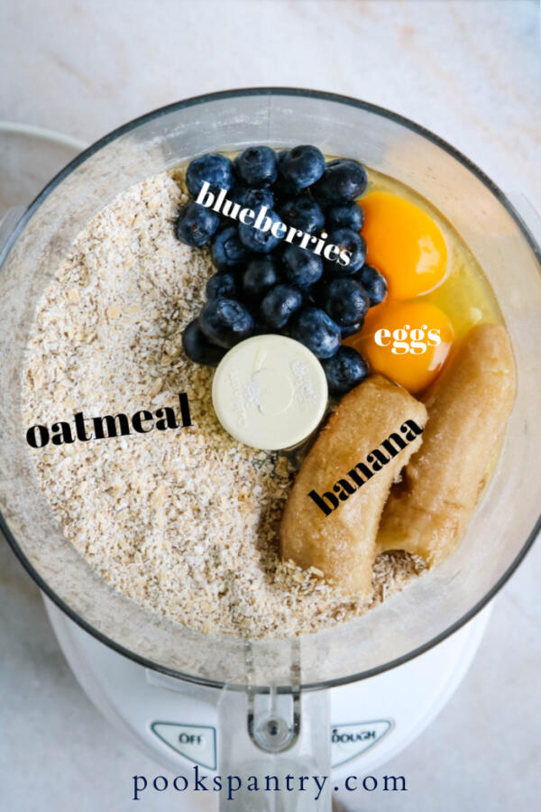 dog treat ingredients in food processor bowl