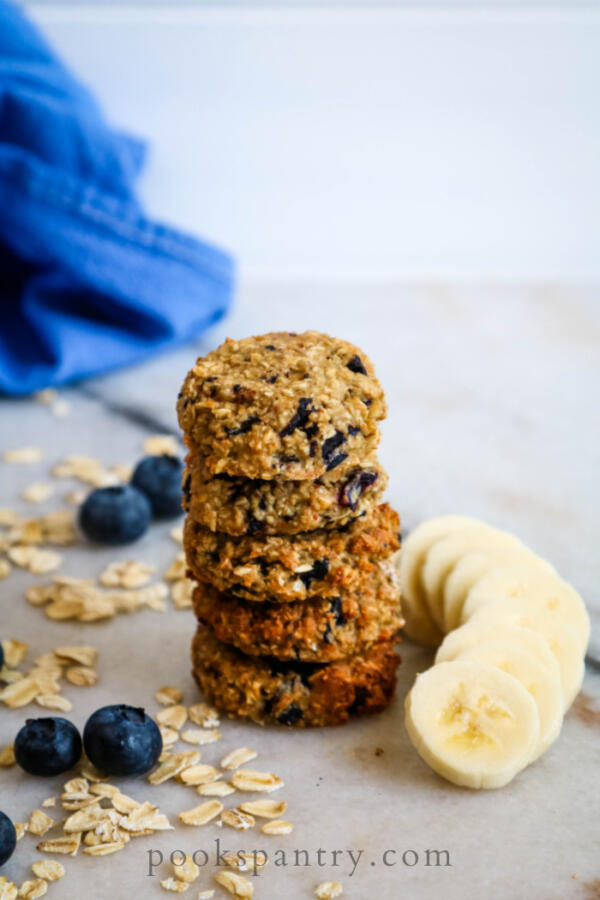 banana dog treats with sliced bananas and blueberries