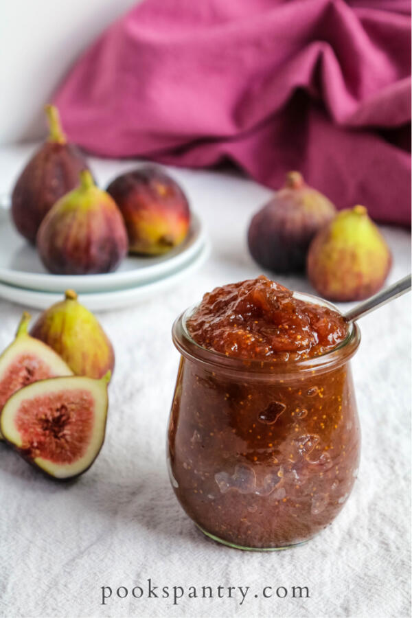 fig jam with vanilla in glass jar