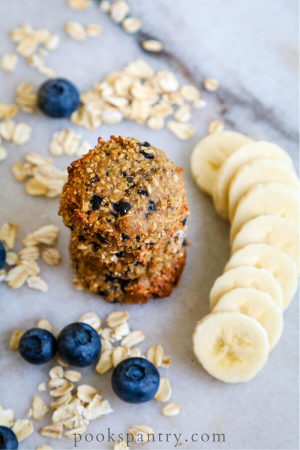 homemade dog treats with bananas and blueberries